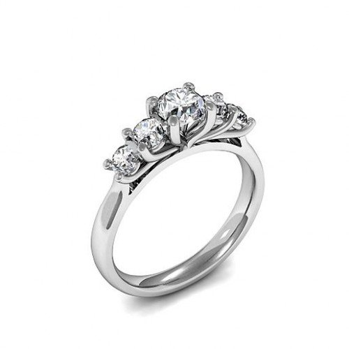 Five Diamond Ring Prong Set In White Gold & Platinum