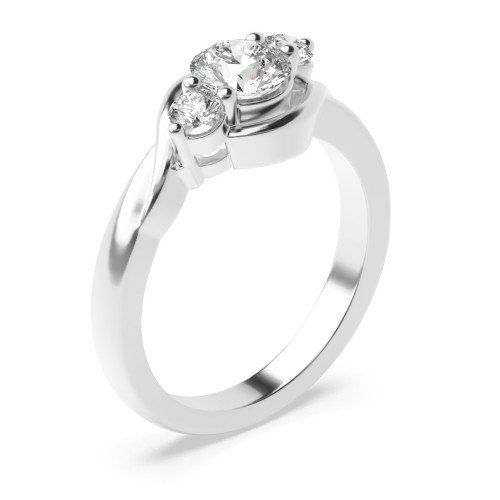 Prong Setting Round Trilogy Diamond Engagement Ring in Rose / White Gold