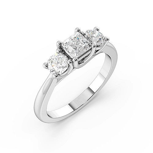 Prong Setting Princess & Round Trilogy Diamond Engagement Ring in Gold