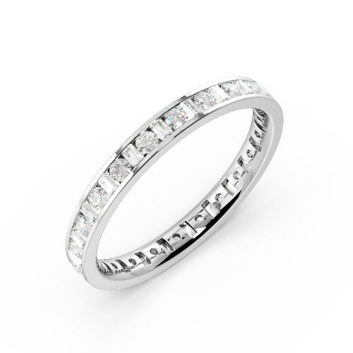 Channel Setting Round/Baguette Full Eternity Diamond Ring (Available in 2.25mm to 3.5mm)