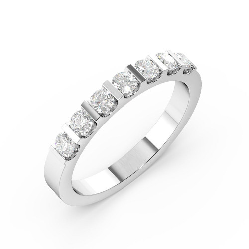 Bar Setting Round Shape 7 Stone Diamond Rings