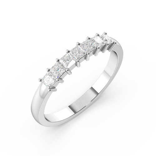 Prong Setting Princess Shape 7 Stone Diamond Rings
