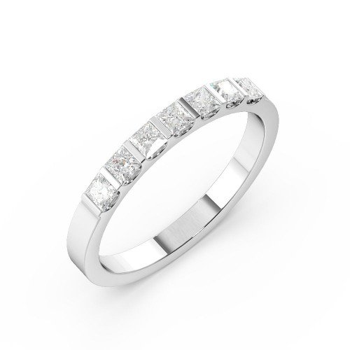Bar Setting Princess Shape 7 Stone Diamond Rings