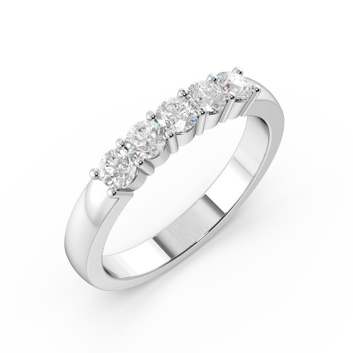 Prong Setting Round Shape 5 Stone Diamond Rings