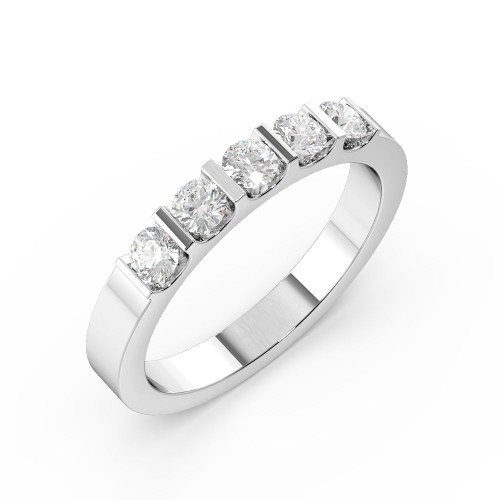 Bar Setting Round Shape 5 Stone Diamond Rings