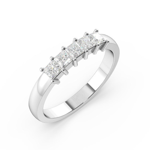 Prong Setting Princess Shape 5 Stone Diamond Rings