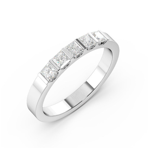 Bar Setting Princess Shape 5 Stone Diamond Rings