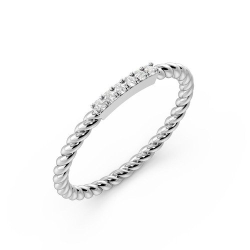 4 Prong Setting Twisted Band Diamond Promise Fashion Ring (1.50mm)
