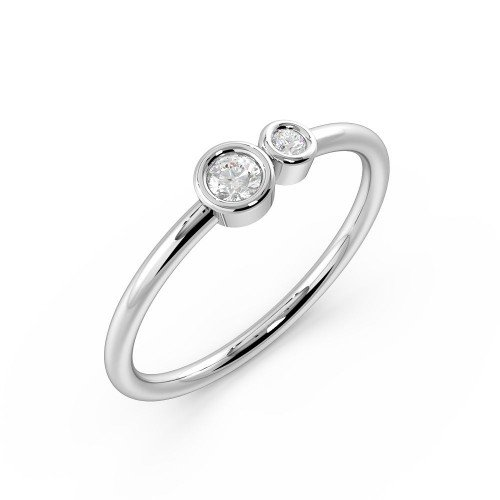 Bezel Setting 2 Stone Petit Diamond Fashion Ring (4.10mm)