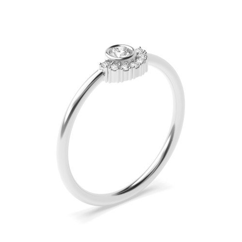 Bezel Setting Half Halo Crown Style Diamond Cluster Ring (5.20mm)