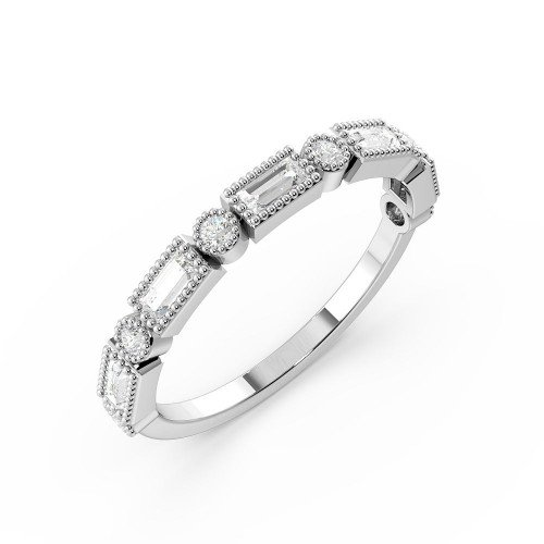 Bezel Setting Round And Baguette Shape Half Eternity Unique Wedding Rings (1.5Mm)
