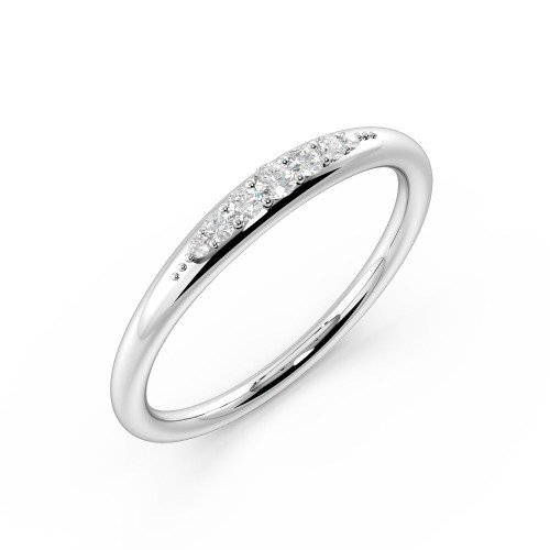 Unique Pave Setting Round Shape Half Diamond Eternity Band (2.25Mm)