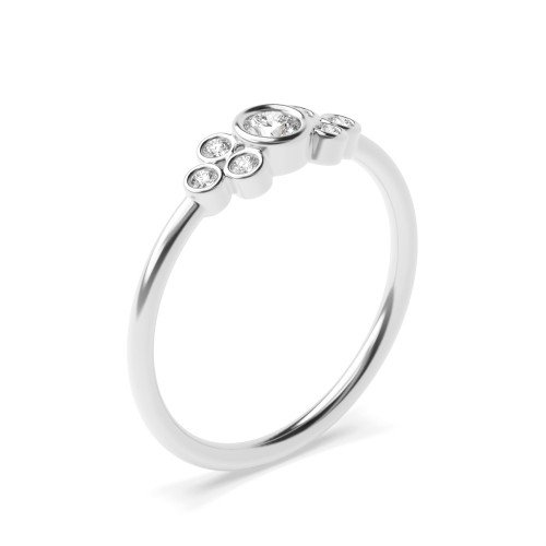 Bezel Setting Unique Cluster Diamond Promise Ring for Her (4.30mm)