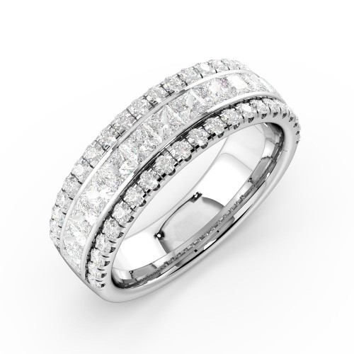 Prong And Channel Setting Round And Princess Diamond Combination Fashion Designer Rings(6.20Mm)