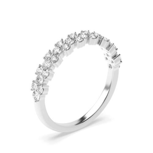Modern Style Prong Setting Round Shape Half Eternity Designer Rings(3.40Mm)