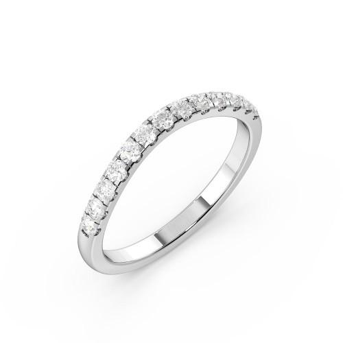4 Prong Setting Popular Shaped Diamond Half Diamond Set Wedding Ring (2.00mm)