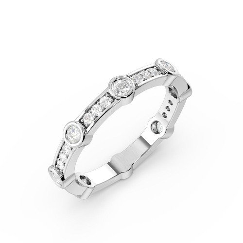 Bezel & Pave Setting Designer Station Diamond Full Eternity Wedding Ring (3.00mm)