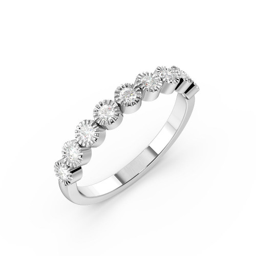 Bezel Setting Miligrain Delicate Diamond Half Eternity Wedding Band (3.00mm)