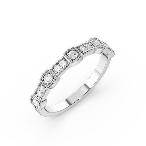 Pave Setting Miligrain Station Style Diamond Full Eternity Wedding Ring (3.20mm)