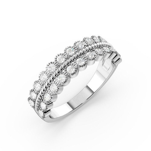 Bezel Setting Two Raw with Twisted Middle Half Diamond Eternity Ring (5.20mm)