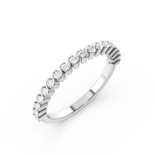 Pave Setting S-Link Designer Diamond Half Eternity Ring for Women (1.90mm)