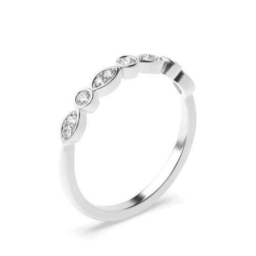Bezel & Pave Setting Marquise and Round Shape Diamond Half Eternity Band (2.80mm)