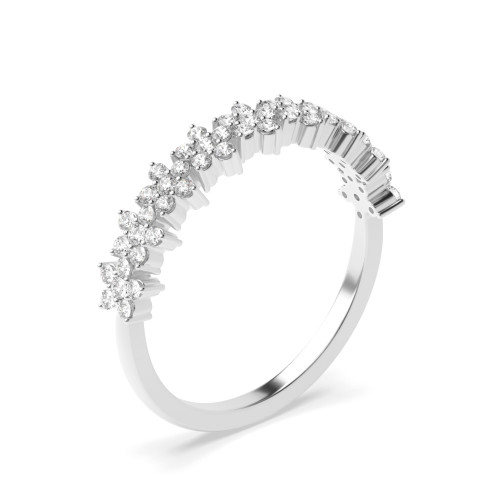 4 Prong Setting Star Cluster Diamond Half Eternity Ring for Her (4.20mm)