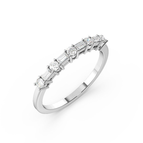 4 Prong Round & Baguette Shape Unique Half Diamond Eternity Ring (2.10mm)