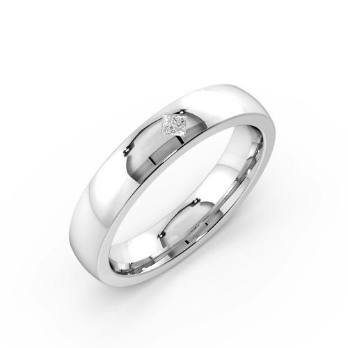 Flush Setting Princess Shape Single Diamond Wedding Band (4.00mm)