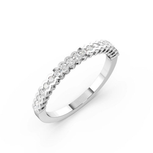 Bezel Setting Round Shape Half Bezel Half Diamond Eternity Ring (2.00mm - 3.00mm)