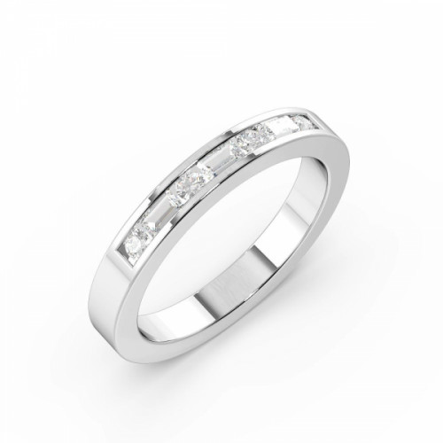 Round & Baguette Shape Unique Half Diamond Eternity Ring (2.00mm - 3.00mm)