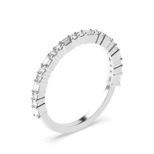 4 Prong Round & Baguette Shape Unique Half Diamond Eternity Ring (1.70mm)