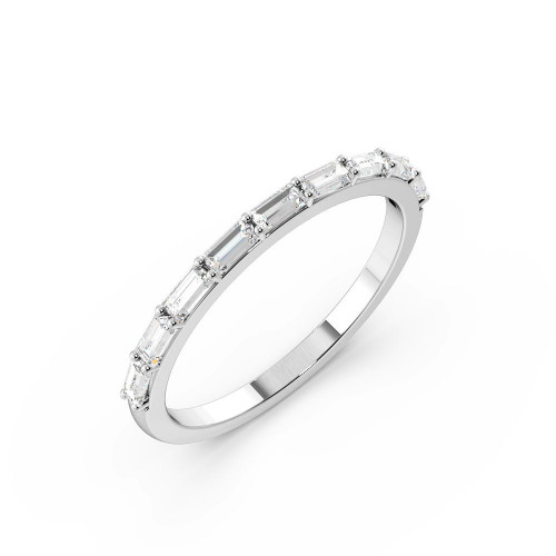 Horizontal Set Baguette Half Diamond Eternity Ring (1.50mm & 2.0mm)