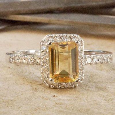 Bespoke Citrine Halo Engagement Ring Designs by Abelini