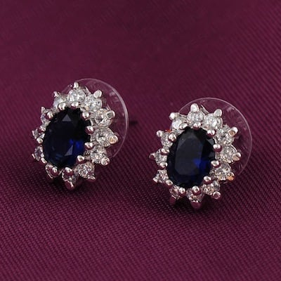 Bespoke Sapphie Halo Stud Earrings
