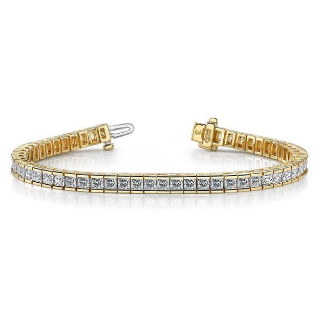 White Gold Tennis Bracelet Princess Cut Diamond Bracelet Channel Set