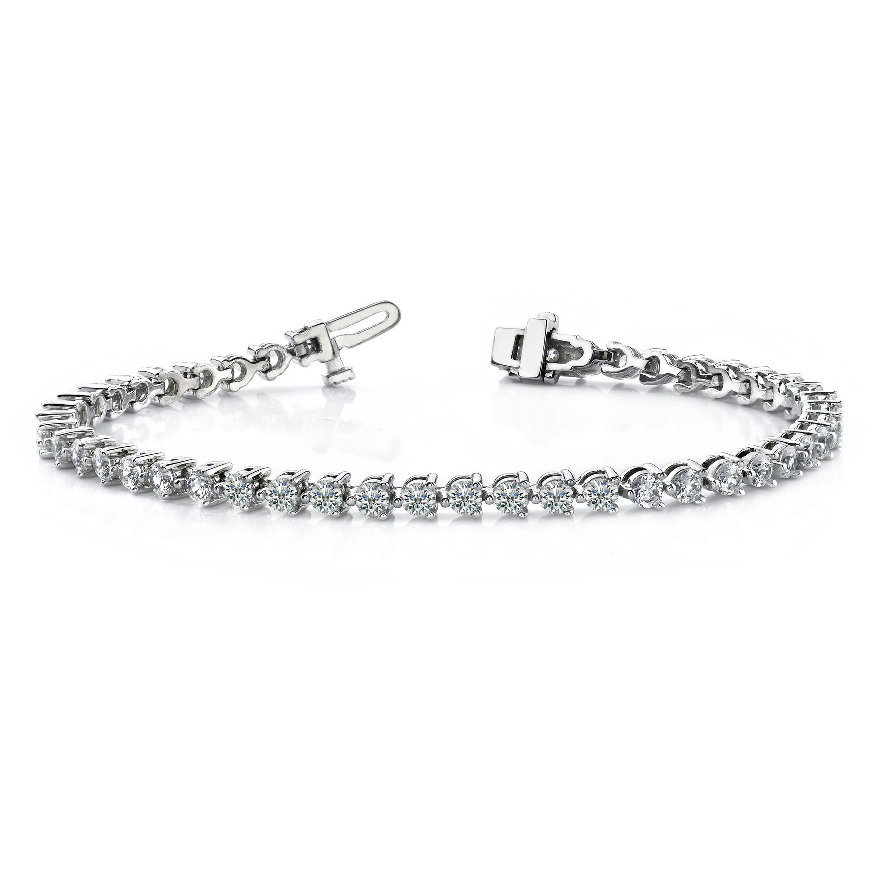 White Gold Tennis Bracelet Round Line Tennis Diamond Bracelet