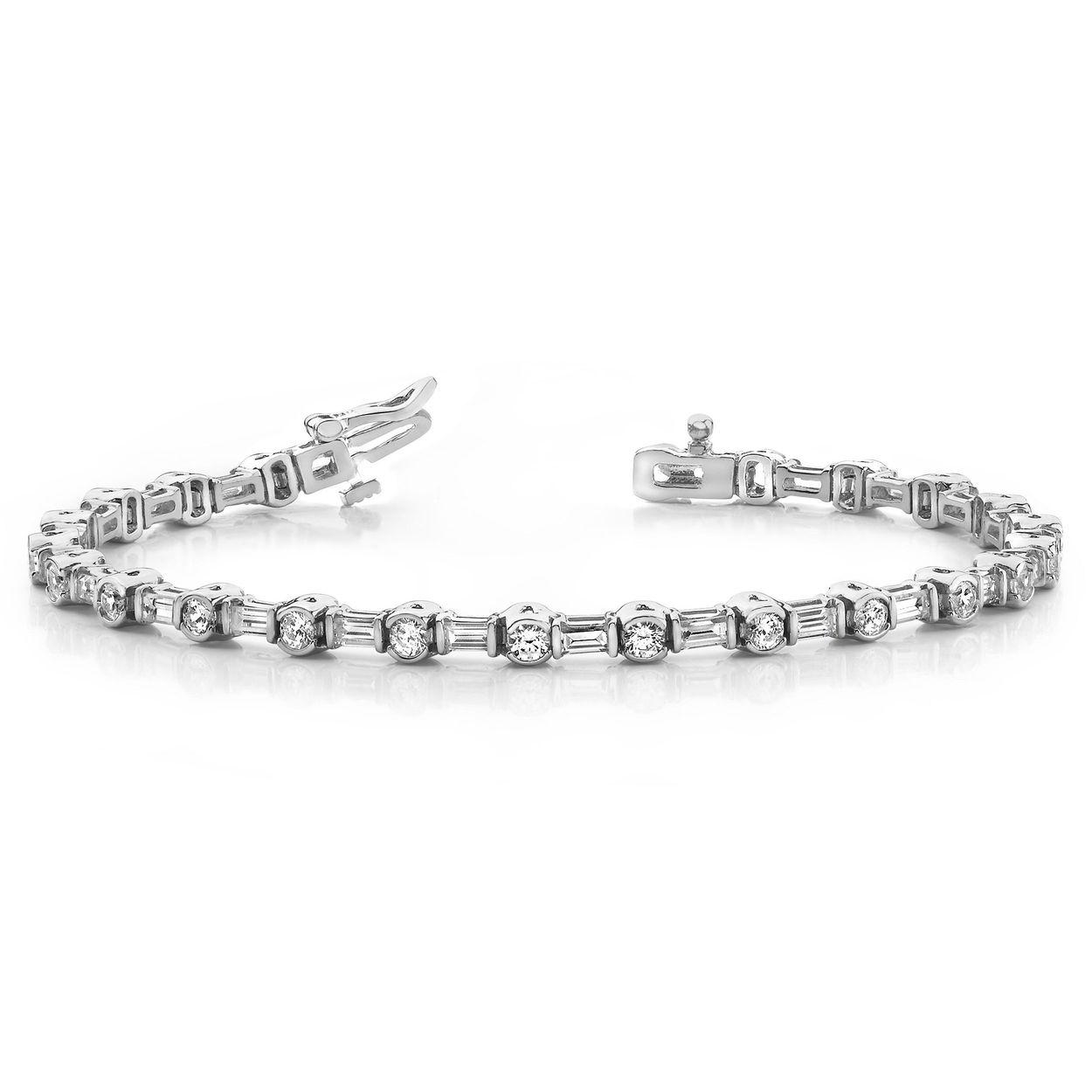 Bracelets For Women Line Tennis Diamond Bracelet Round And Baguette Shape