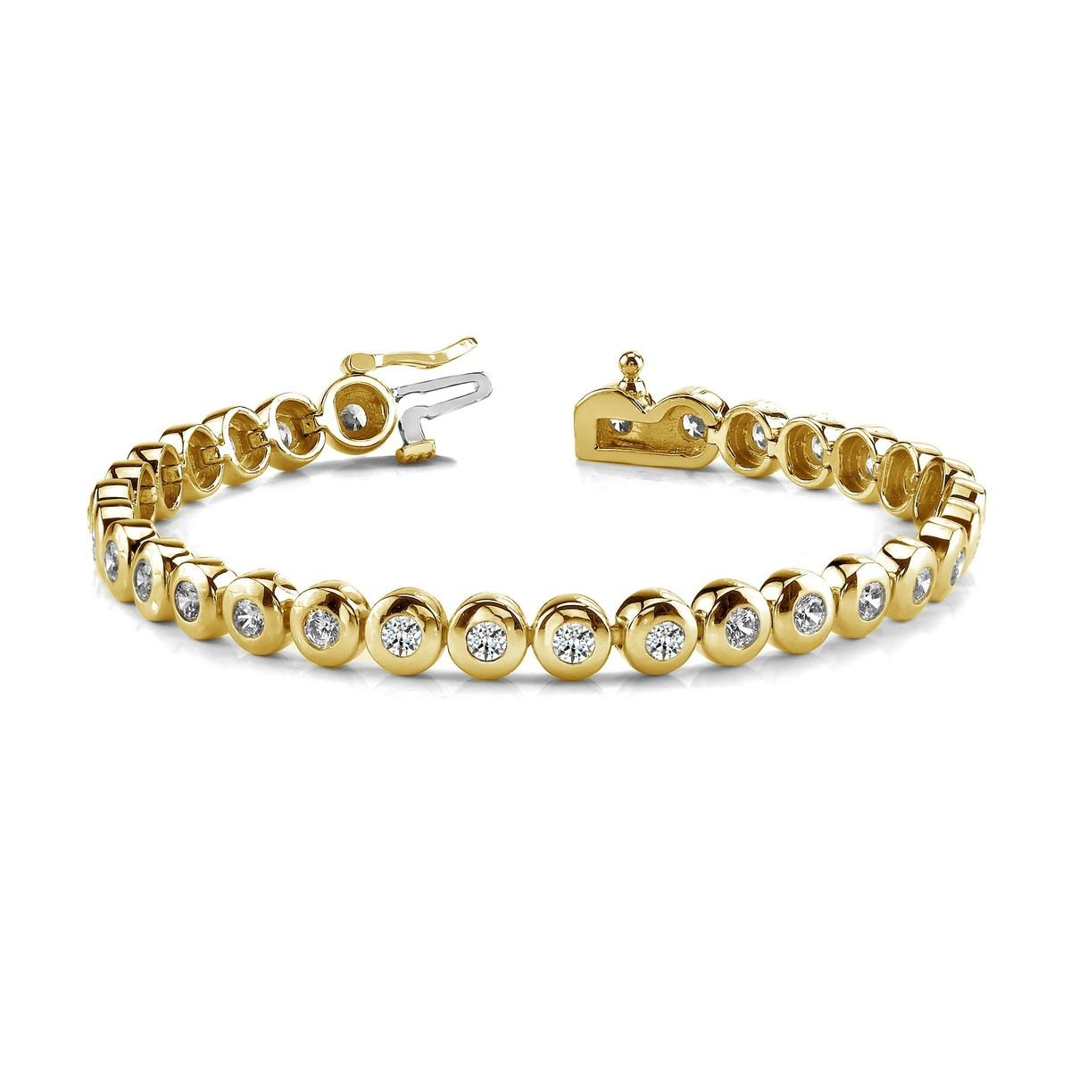 Diamond Tennis Bracelet Round Brilliant Cut Line Bezel Set