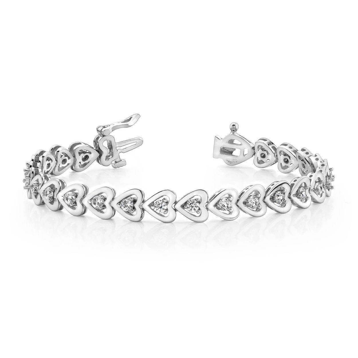 Rose Gold Bracelet Round Two Row Tennis Diamond Bracelet
