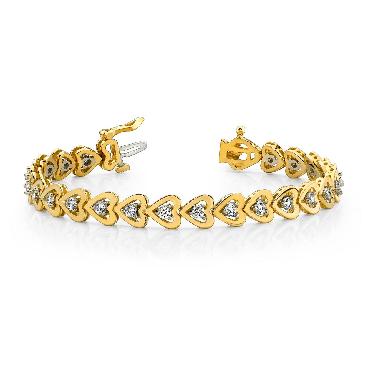 Heart Shape Style Tennis Diamond Bracelet