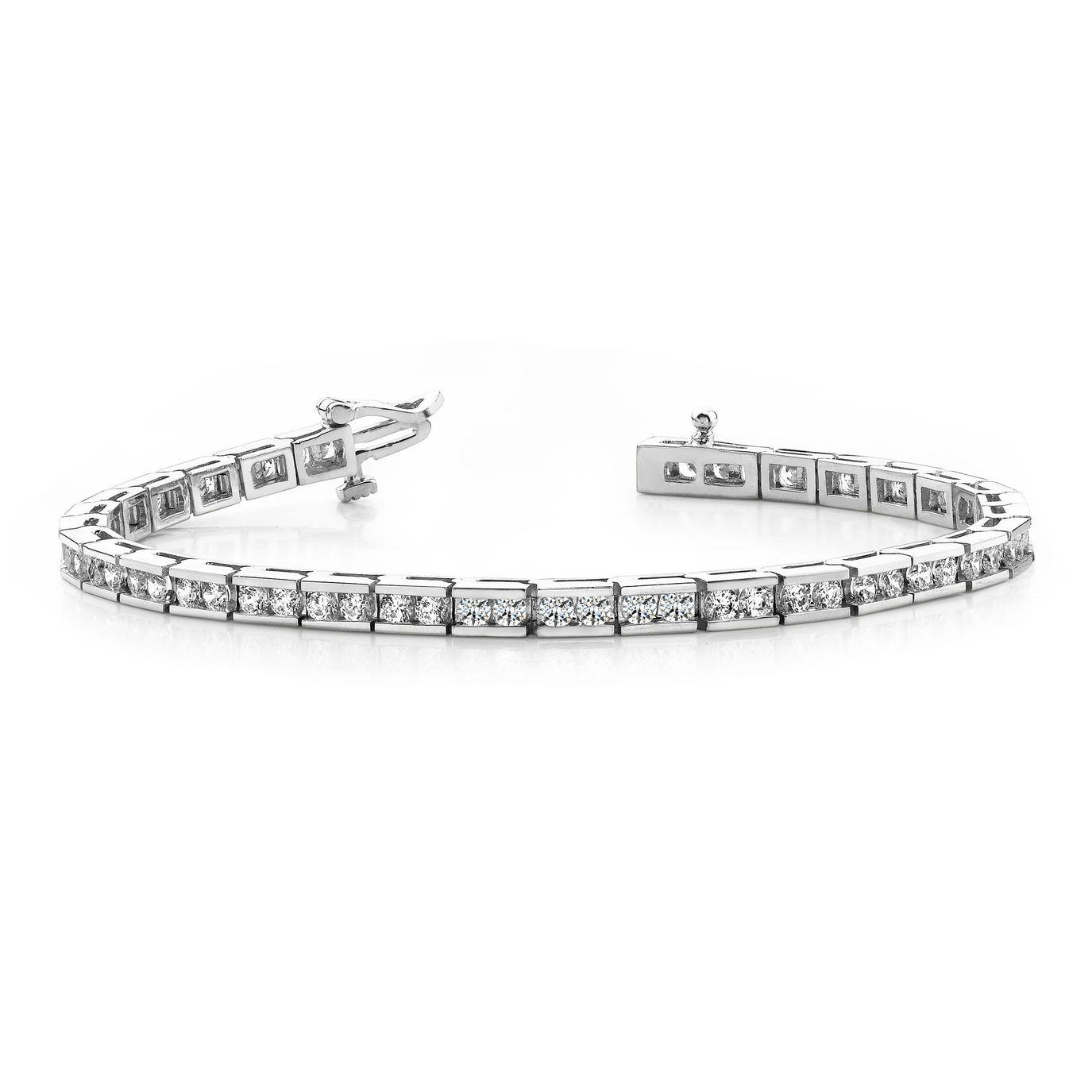 Channel Set Round Brilliant Cut Line Tennis Diamond Bracelet