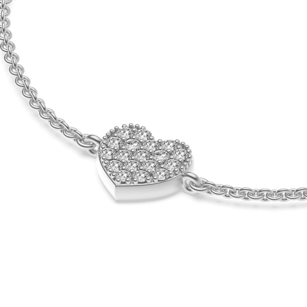 Heart Disc Diamond Bracelets in Pave Setting