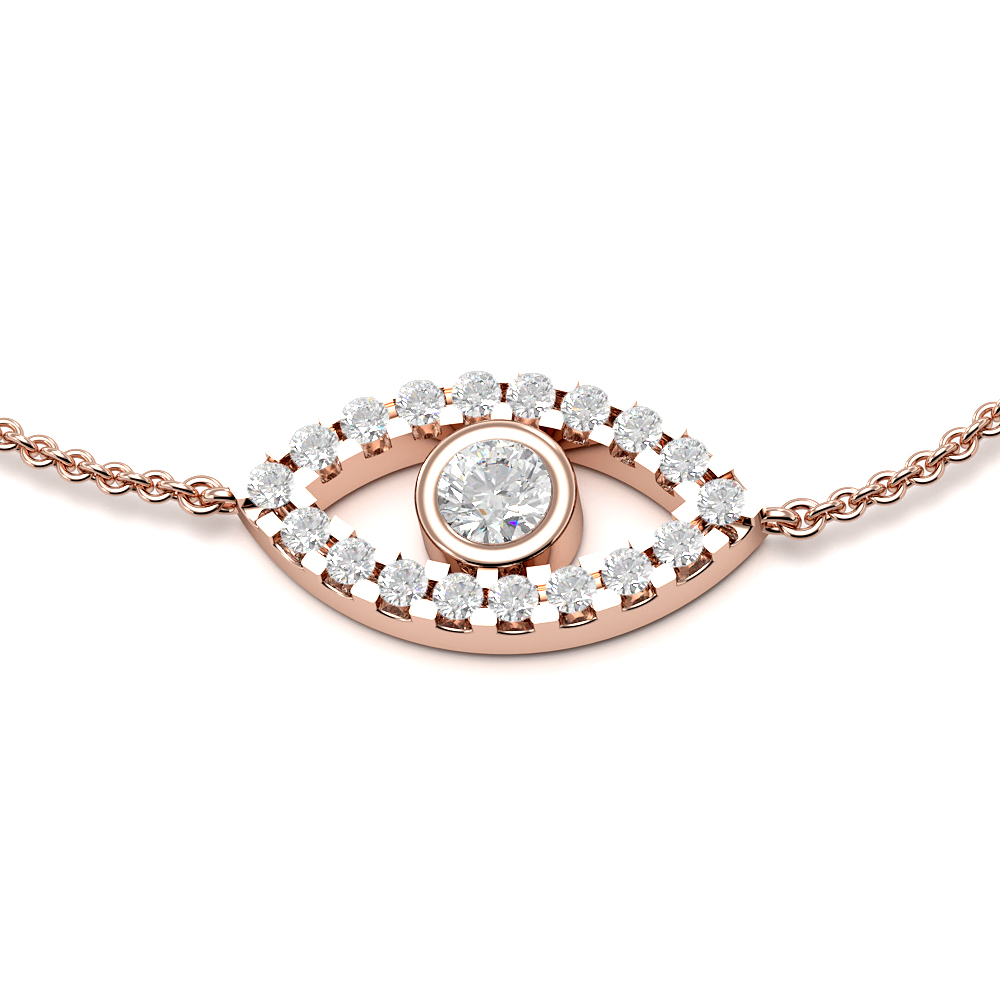 Bezel Setting Deliv Eye Chain Diamond Bracelets