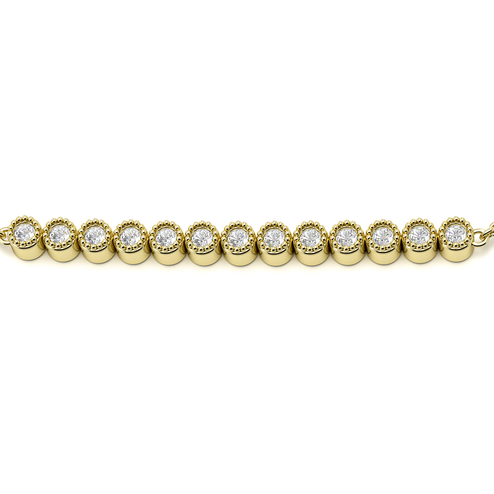 Bezel Setting Bar Chain Diamond Bracelets