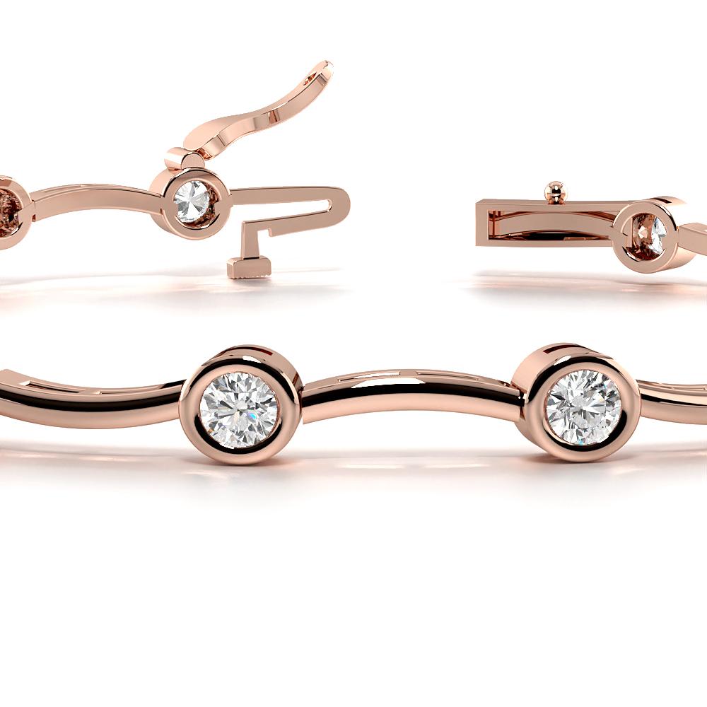 Bezel Setting Wavy Bar Link Delicate Diamond Bracelets