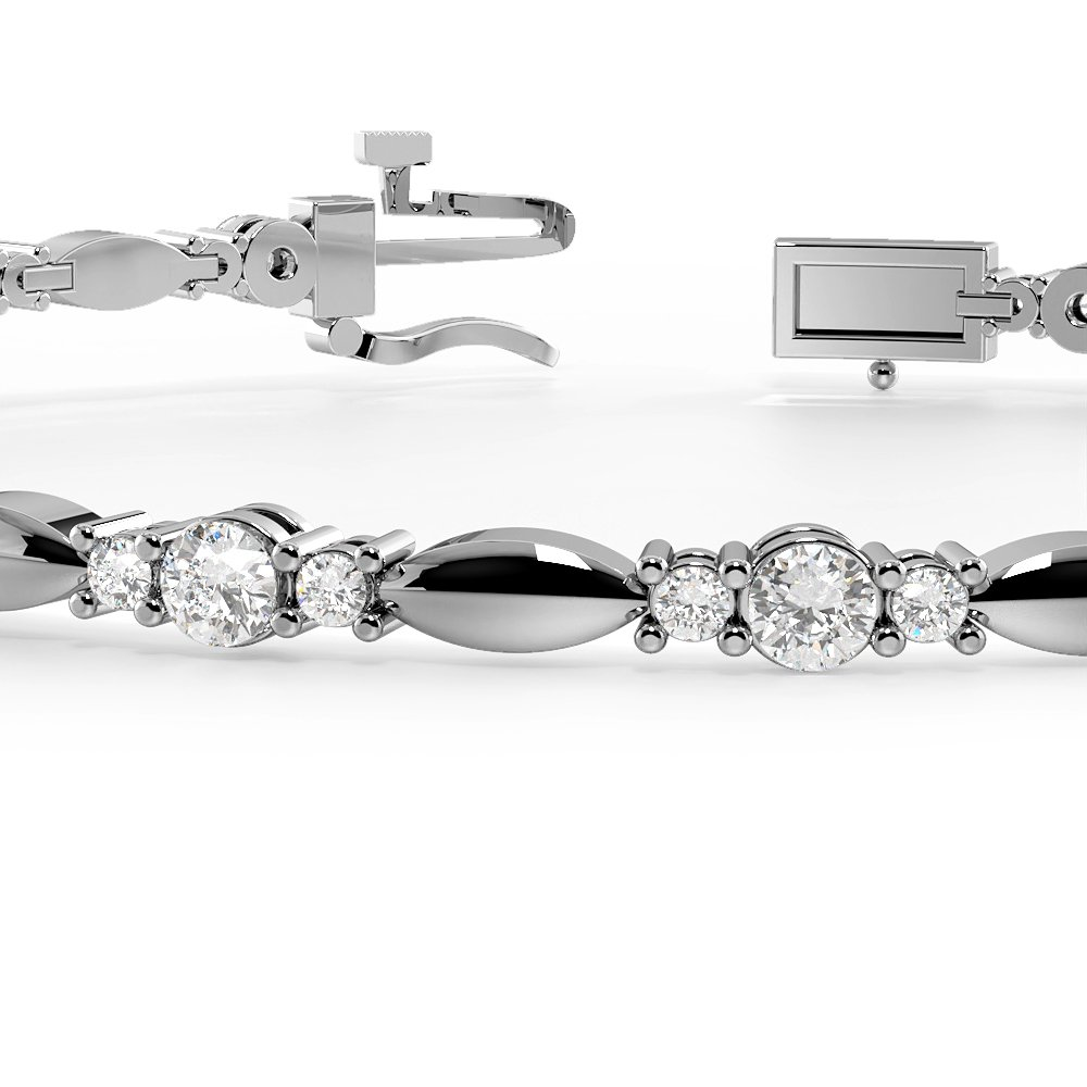 3 Diamonds Link Delicate Diamond Bracelets