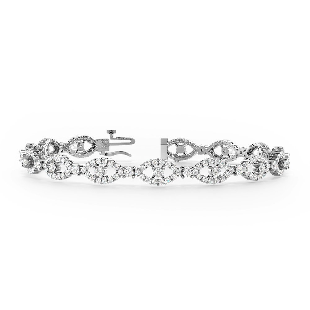 WHITE GOLD DELVIL EYE CLUSTER DIAMOND BRACELETS