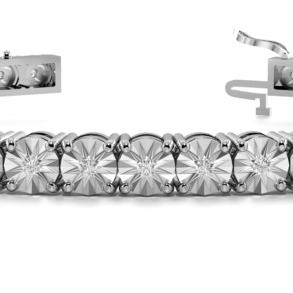 Illusion Set Diamond Tennis Bracelets