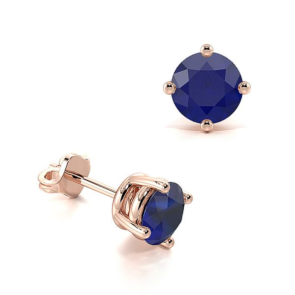 4 Claw Basket Setting Blue Sapphire Gemstone Stud Earrings